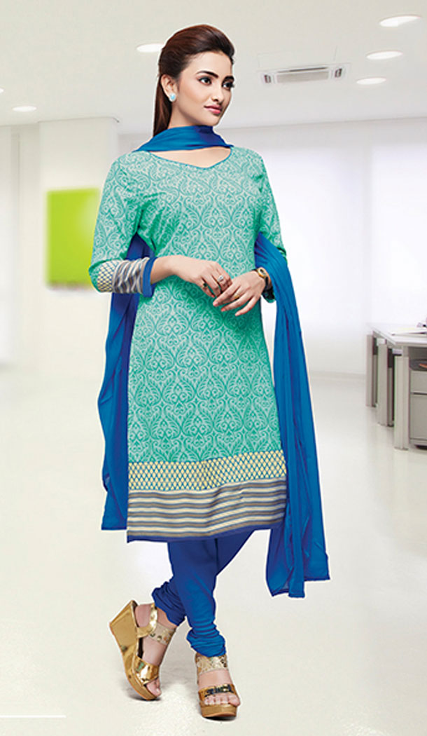 Aqua Blue Color Crepe Silk Straight Cut Casual Office Wear Salwar Kameez - 64124320