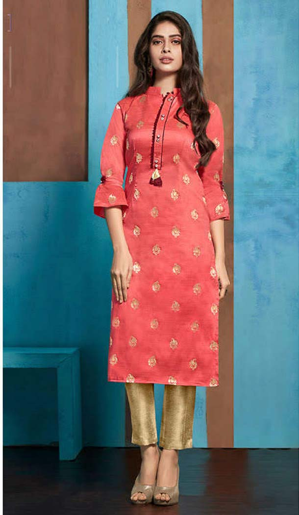 Light Pink Color Jacquard Casual Party Wear Readymade Kurti -474166218