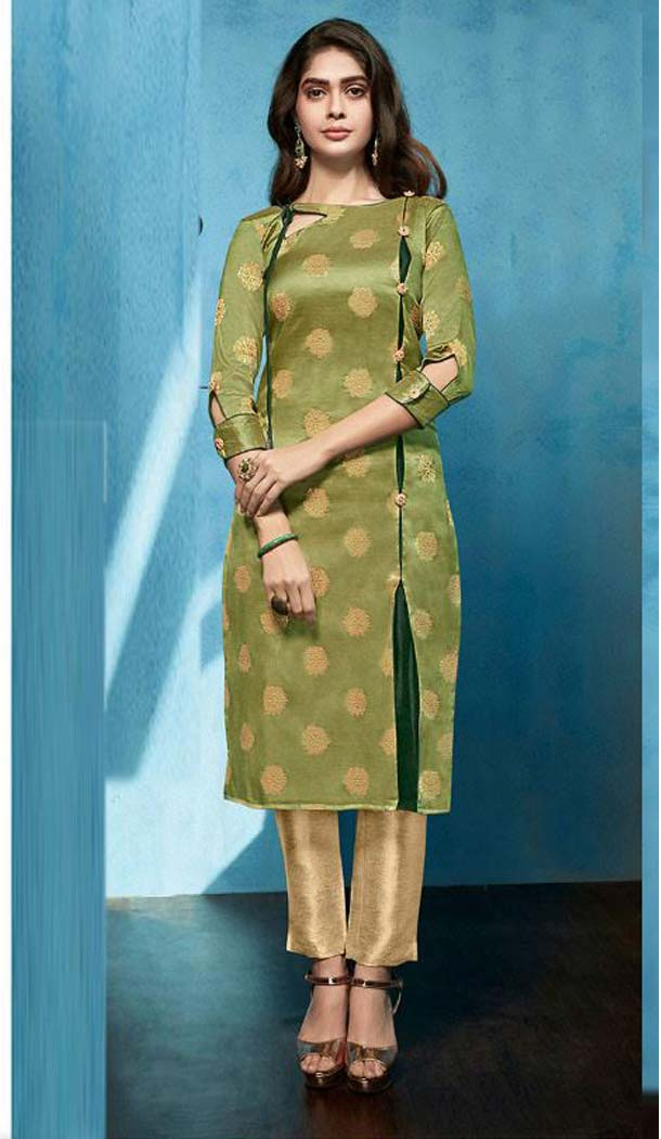 Mehandi Green Color Jacquard Casual Party Wear Readymade Kurti -474166219