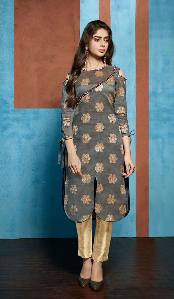 Charming Grey Color Jacquard Casual Party Wear Readymade Kurti -474166221