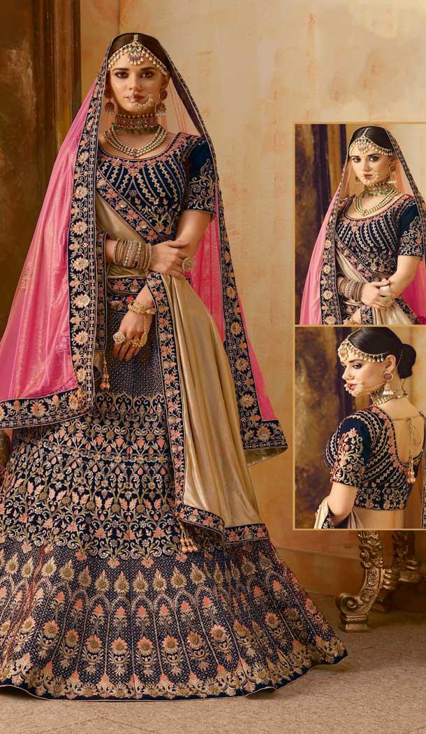 Chic Dark Blue Color Velvet Designer Bridal Wedding Lehenga Choli -Heena Style