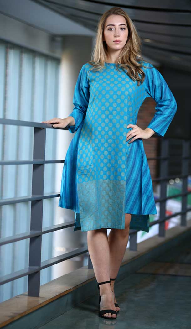 Exquisite Blue Color Khadi Casual Wear Indo Western Readymade Kurtis -72492751